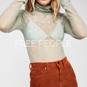 NWT - Free People mint lace top